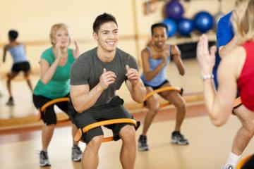Diverse pilates fitness class