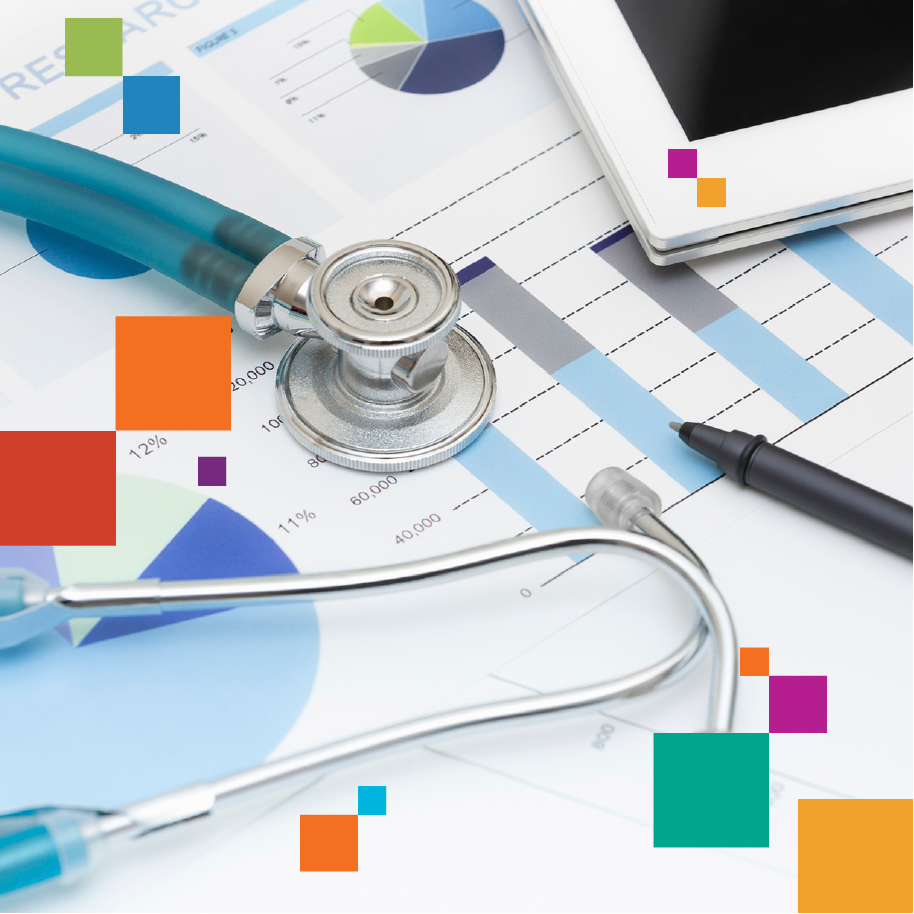 medical papers and stethoscope with color blocks
