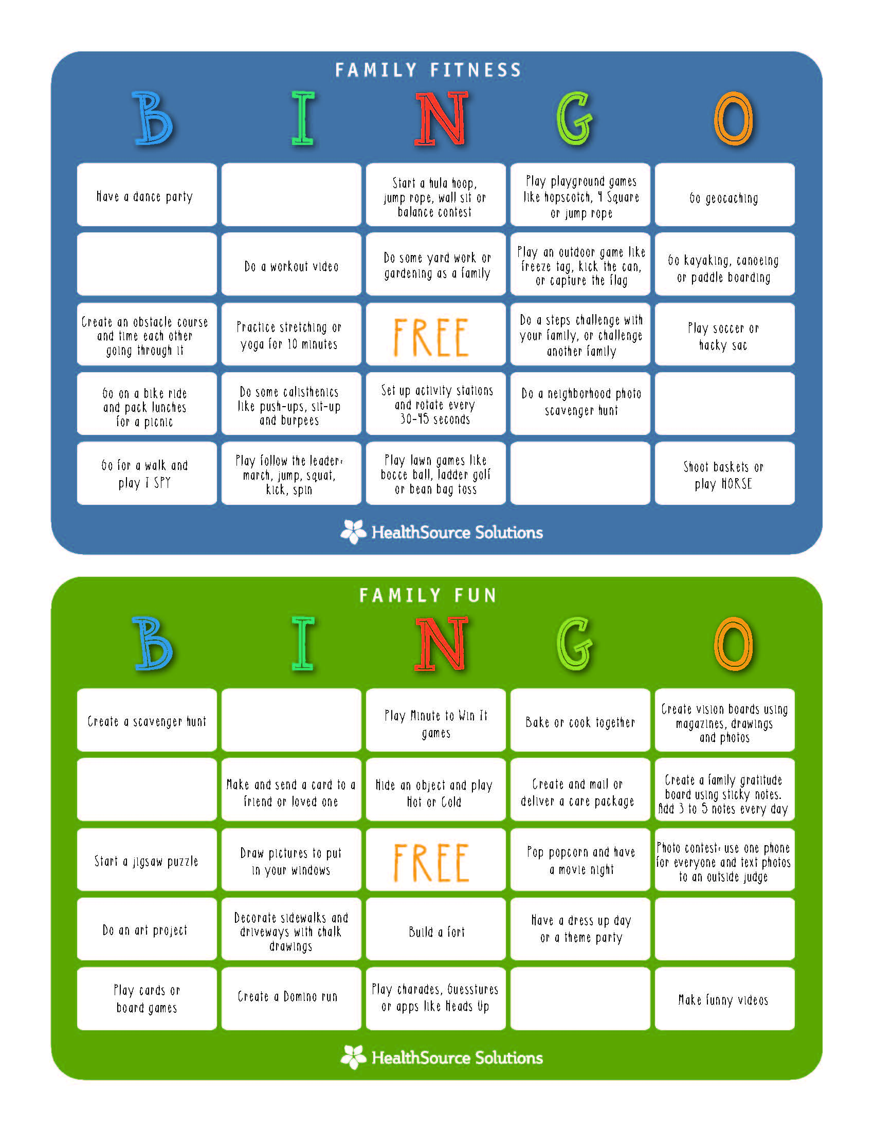 Family Activity Bingo Cards