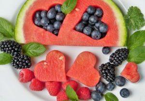 Berries & heart shaped watermelon